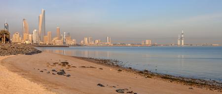 Panorama of Kuwait City from the beach. City. Kuwait City, Kuwait.