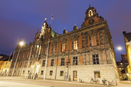 Malmo City Hall at night. Malmo, Scania, Sweden. Stock Photo