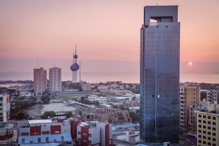 Kuwait panorama at sunrise . Kuwait City, Kuwait.