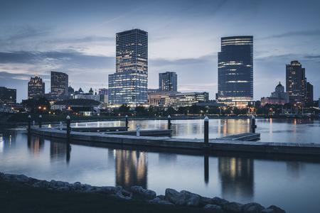 Panorama of Milwaukee at night. Milwaukee, Wisconsin, USA.