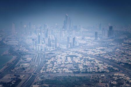 Aerial panorama of Kuwait City. Kuwait City, Kuwait.