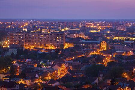 Panorama of Oradea at evening. Oradea, Bihor County, Romania.