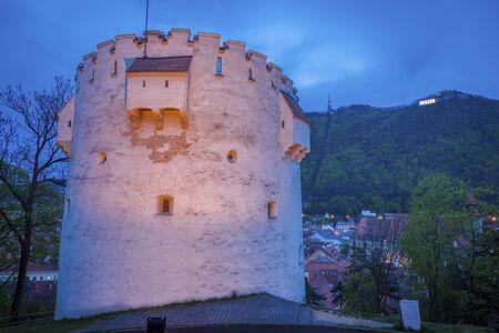 White Tower in Brasov at night. Brasov, Brasov County, Romania.
