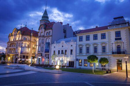 Architecture of Oradea at dawn. Oradea, Bihor County, Romania. 版權商用圖片