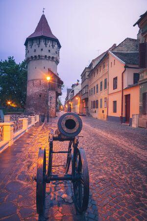 The Carpenter Tower in Sibiu. Sibiu, Sibiu County, Romania.