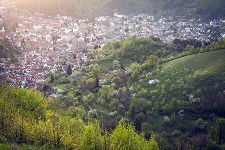 Architecture of Brasov at sunrise. Brasov, Brasov County, Romania.