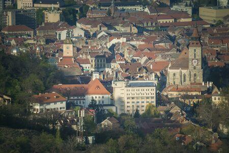 Architecture of Brasov - aerial view. Brasov, Brasov County, Romania.