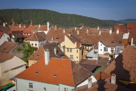 Old town of Sighisoara - aerial view. Sighisoara, Mures County, Romania.