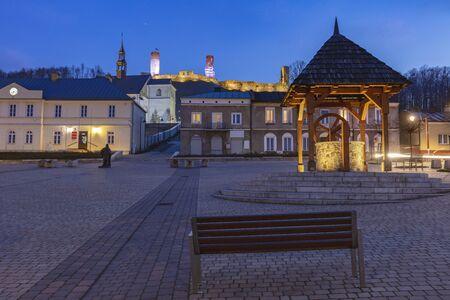 Main Square in Checiny. Checiny, Holy Cross, Poland.
