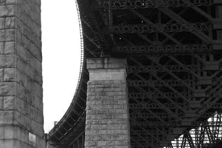 girders: Blackwhite bridge supporting pillars and girders Stock Photo