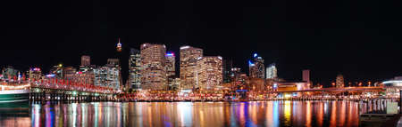 darling: Night time panoramic view of Sydney central business district, taken from Darling Harbour.