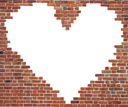 Symbol of love, heart brick wall