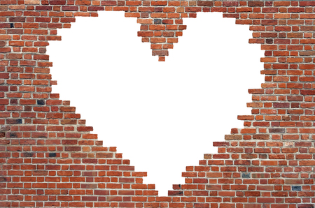 worn structure red: Symbol of love, brick wall heart Stock Photo