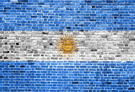 Flag of Argentina painted on brick wall