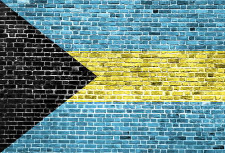 Flag of Bahamas painted on brick wall, background texture