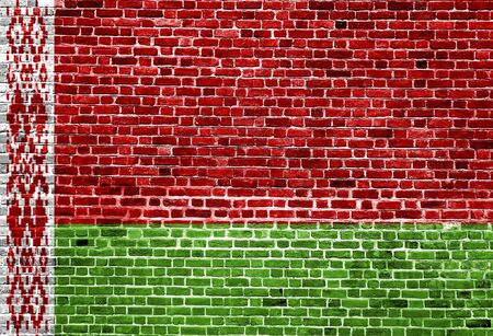 Flag of Belarus painted on brick wall, background texture