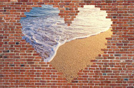 foundation cracks: Hole shape heart inside brick wall, Symbol of love, brick wall heart