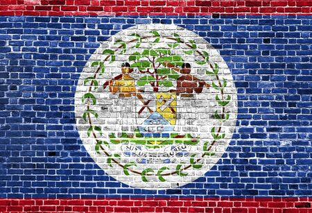 Flag of Belize painted on brick wall, background texture Stock Photo