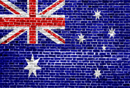 Flag of Australia painted on brick wall, background texture Stock Photo