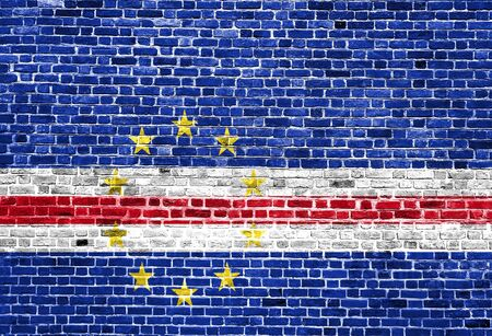 Flag of Cape Verde painted on brick wall, background texture