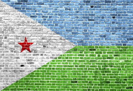 Flag of Djibouti painted on brick wall, background texture
