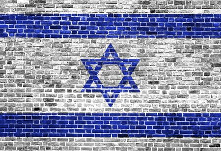 Flag of Israel painted on brick wall, background texture