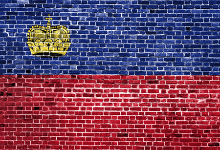 Flag of Liechtenstein painted on brick wall, background texture