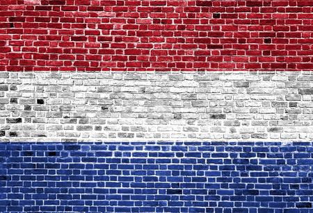 Flag of Netherland painted on brick wall, background texture