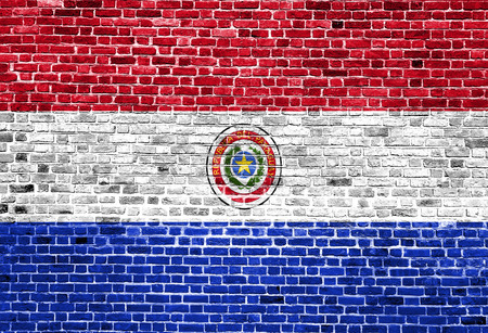 Flag of Paraguay painted on brick wall, background texture Stock Photo