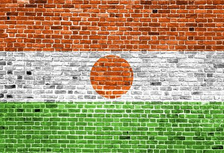 Flag of India painted on brick wall, background texture Stock Photo