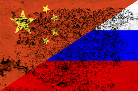 Mixed China and Russia flag on a grunge background
