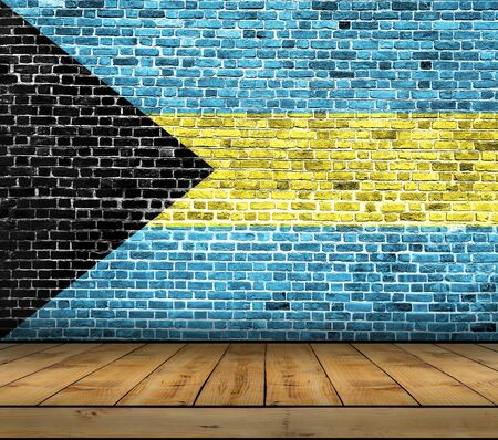 Bahamas flag painted on brick wall with wooden floor Stock Photo