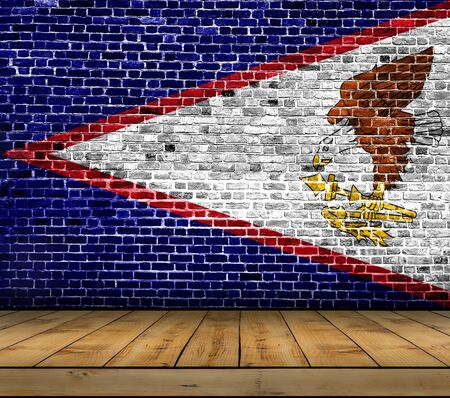 American Samoa flag painted on brick wall with wooden floor