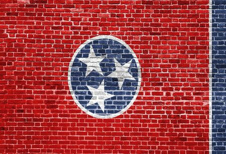 solid state: Tennessee US flag painted on old vintage brick wall Stock Photo