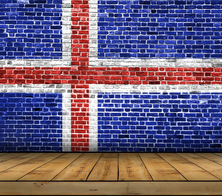 Iceland flag painted on brick wall with wooden floor