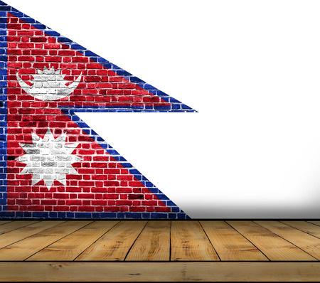 Nepal flag painted on brick wall with wooden floor