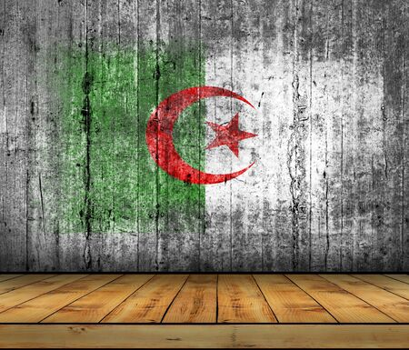 algeria: Algeria flag painted on background texture gray concrete with wooden floor