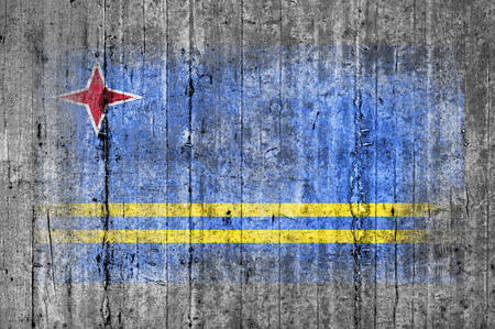 worn: Aruba flag painted on background texture gray concrete Stock Photo