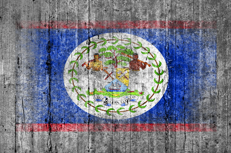 Belize flag painted on background texture gray concrete Stock Photo