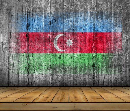 azerbaijanian: Azerbaijan flag painted on background texture gray concrete with wooden floor