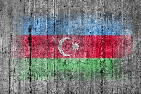 azerbaijanian: Azerbaijan flag painted on background texture gray concrete
