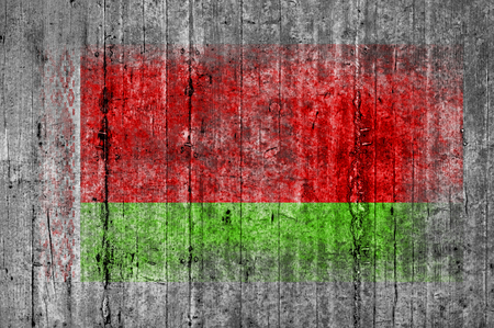 Belarus flag painted on background texture gray concrete