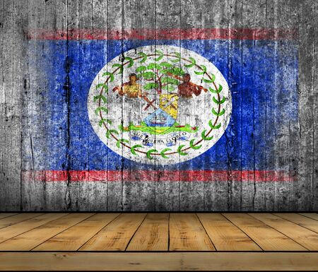Belize flag painted on background texture gray concrete with wooden floor Stock Photo