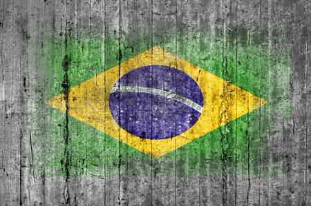 Brasil flag painted on background texture gray concrete