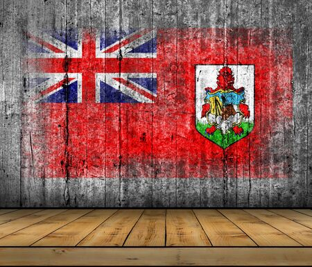 Bermuda flag painted on background texture gray concrete with wooden floor