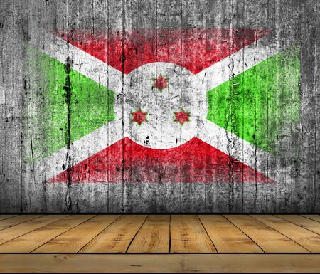 Burundi flag painted on background texture gray concrete with wooden floor Stock Photo