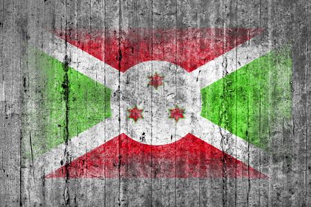 Burundi flag painted on background texture gray concrete