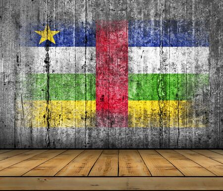 abstract paintings: Central African Republic flag painted on background texture gray concrete with wooden floor Stock Photo