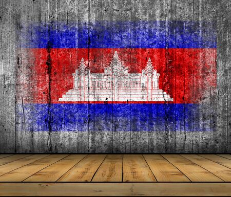 abstract paintings: Cambodia flag painted on background texture gray concrete with wooden floor