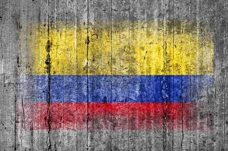 Columbia flag painted on background texture gray concrete Stock Photo